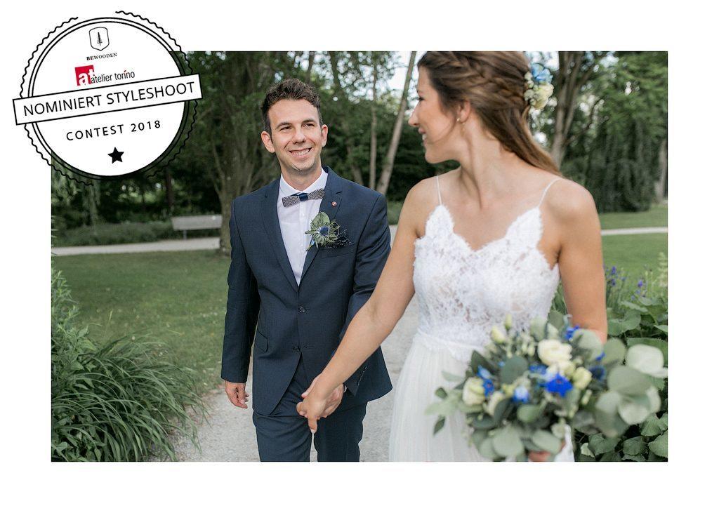 Heiraten in Öhringen | Hochzeitsinspiration in den Farben aquarellblau, grau und weiß mit goldenen Akzenten